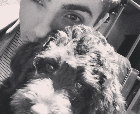 Nathan Sykes with his dog
