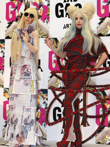 Lady Gaga poses with life size doll in Tokyo