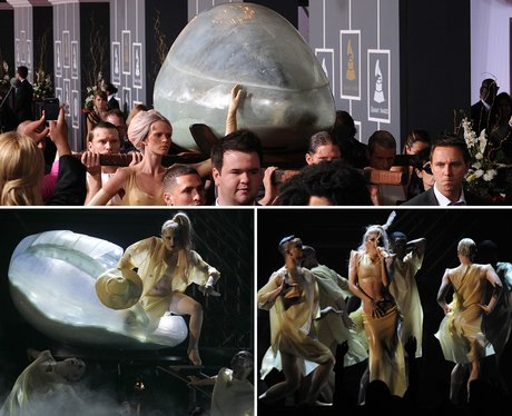 Lady Gaga arrives at the Grammys in an egg