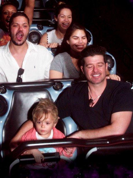 Robin Thicke and his son at Disneyland