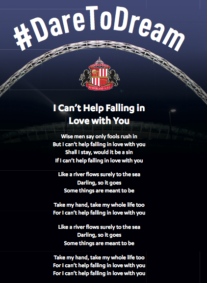 Sunderland Wembley Song Sheet