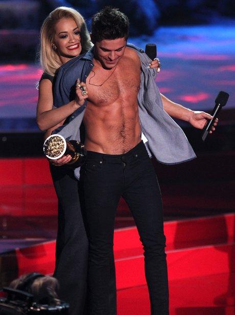 Rita Ora and Zac Efron at the MTV Movie Awards