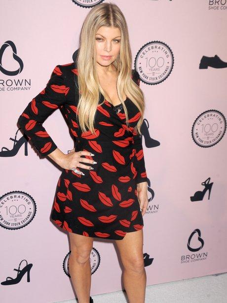 Fergie wearing a lip dress