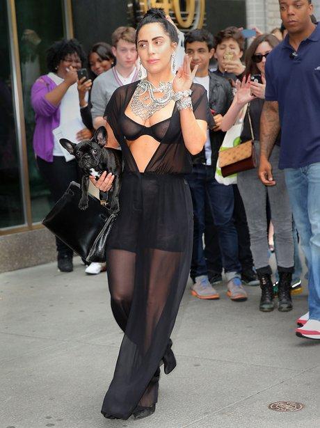 Lady Gaga wearing a revealing top