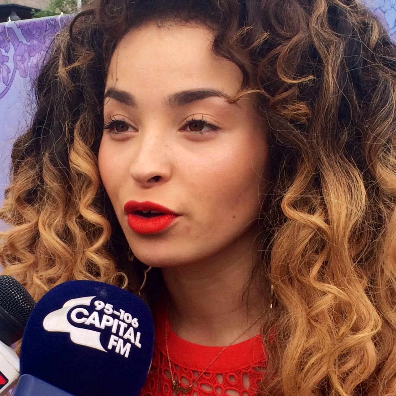 Ella Eyre backstage at the Isle of Wight Festival