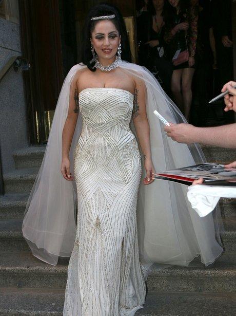 Lady Gaga wearing a wedding dress