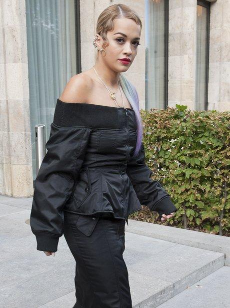 Rita Ora wearing a strange coat