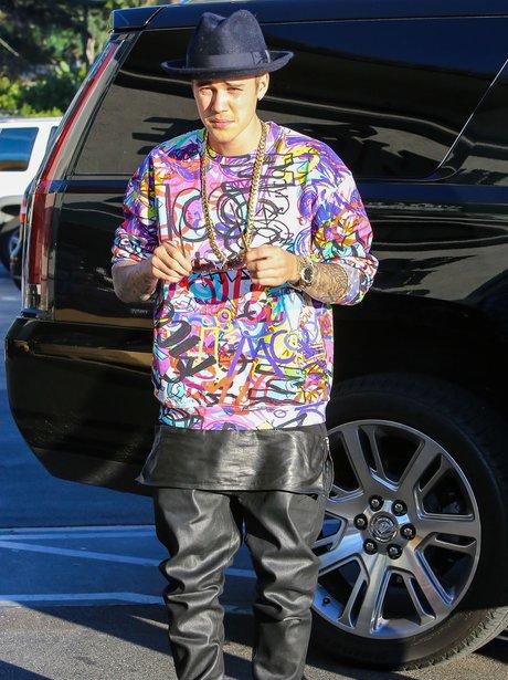Justin Bieber wearing a colourful t shirt