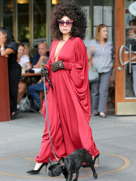 Lady Gaga walking her dog in New York