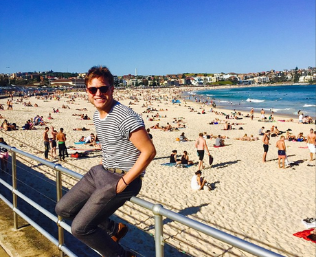 Olly Murs on the beach in Australia