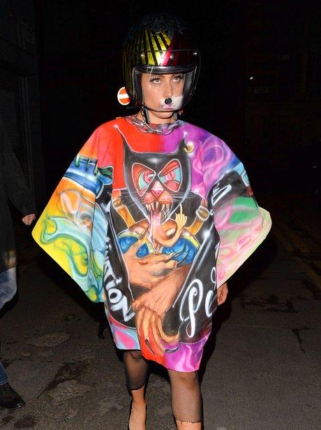 Lady Gaga seen in a Biker Helmet.