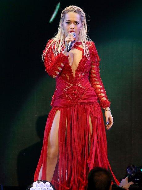 Rita Ora wearign a red dress
