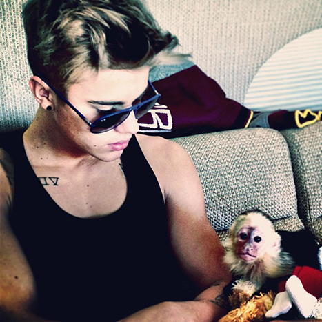 Justin Bieber and his Monkey