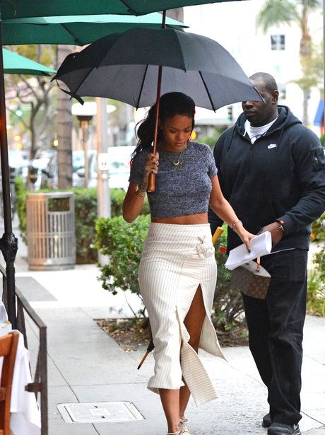 Rihanna with an umbrella