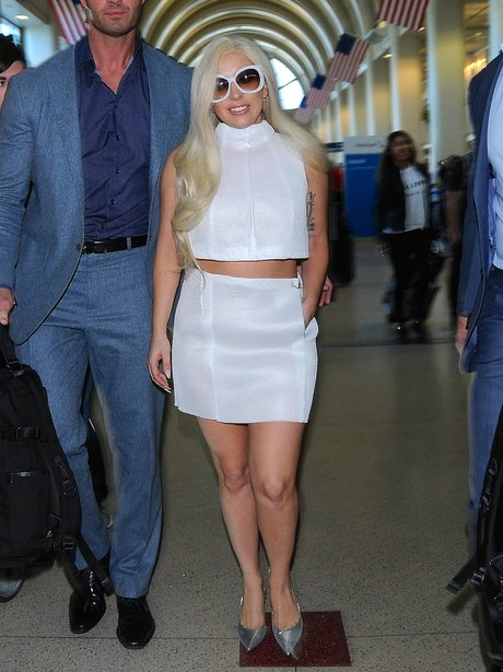 Lady Gaga wearing a white outfit