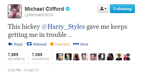 Michael Clifford 5SOS Harry Styles Tweet