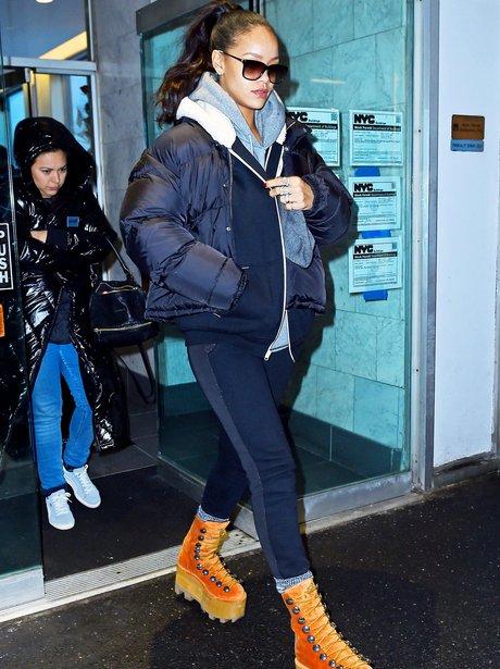 Rihanna wearing platform shoes