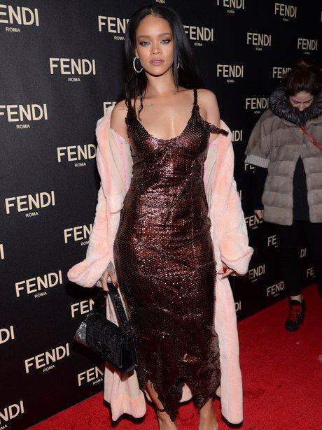 Rihanna wearing a sequin dress
