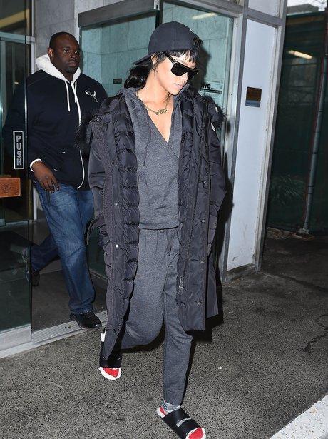 Rihanna wearing slippers
