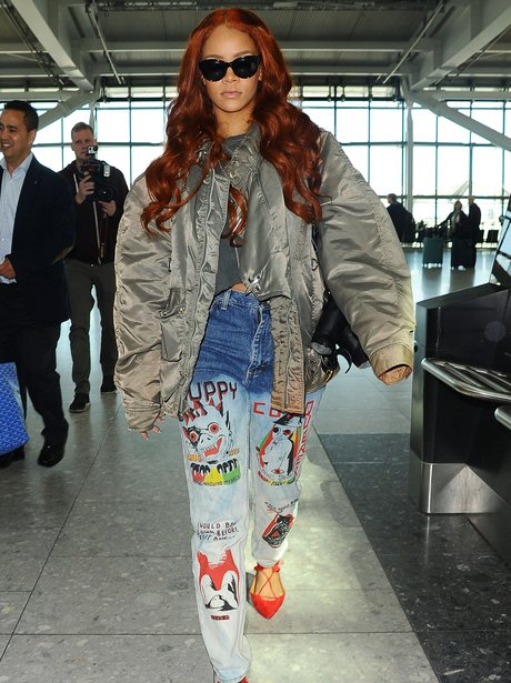 Rihanna wearing colourful jeans