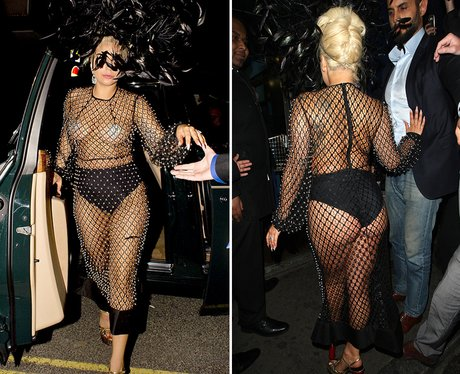 Lady Gaga wearing a sheer outfit