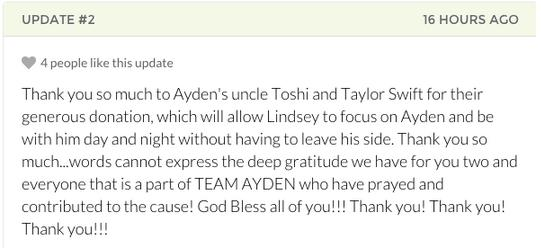 Taylor Swift Ayden GoFundMe Page