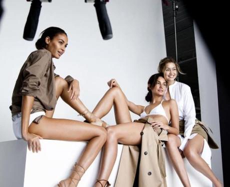 Gigi Hadid Lily Aldridge and Joan Smalls pose in a