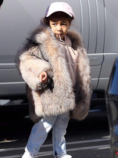 North West in fur coat
