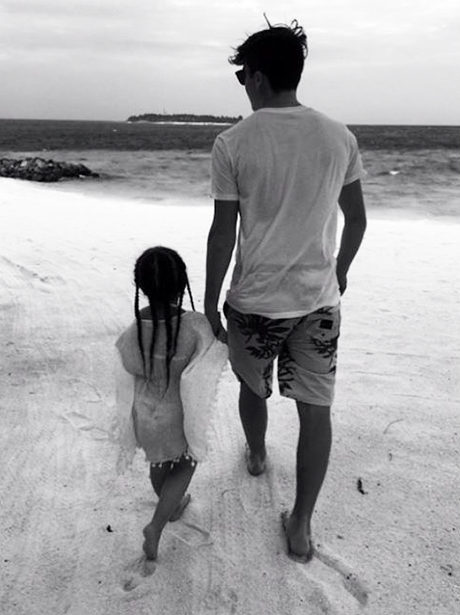 Brooklyn Beckham takes a stroll with little sister