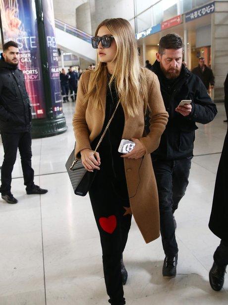Gigi Hadid arrives Roissy Charles De Gaules airpor