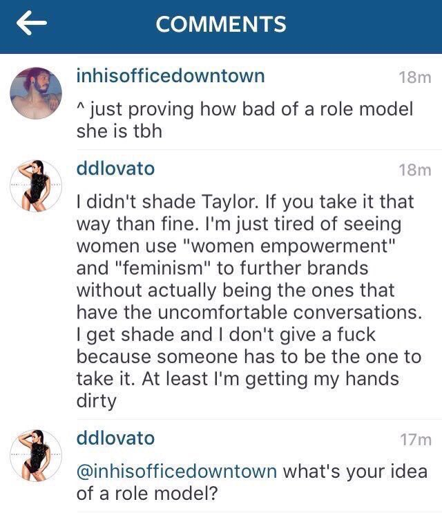 Demi Lovato Says She Didn't Throw Shade