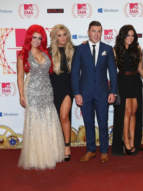 Holly Hagan on the red carpet with big hair