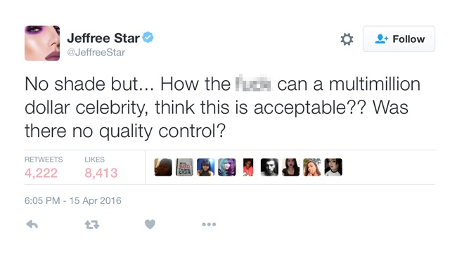 Jeffree Star hits out against Kylie Jenner