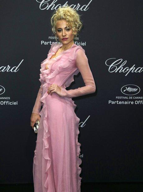 Pixie Lott in pink dress during Cannes Film Festiv
