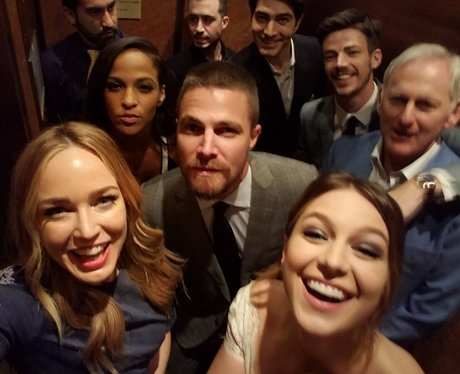 DC superheroes assemble in a lift