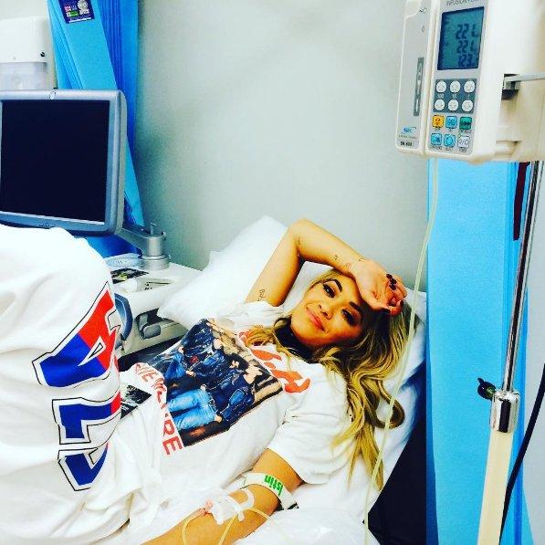 Rita Ora admitted to hospital