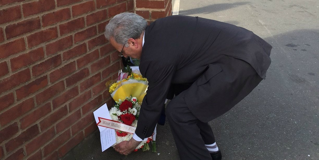 Wreath laid West Mids Fire Nechells wall collapse