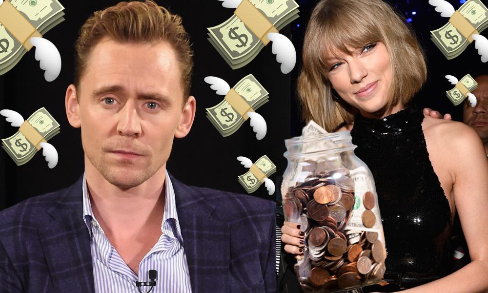 Tom Hiddleston Taylor Swift money