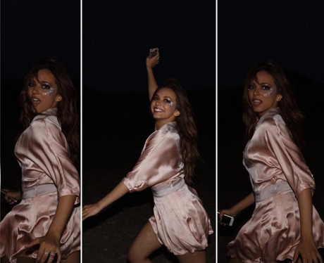 Jade Thirlwall in skimpy pink jumpsuit on NYE