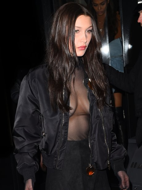 Bella Hadid flashes assets underneath her coat