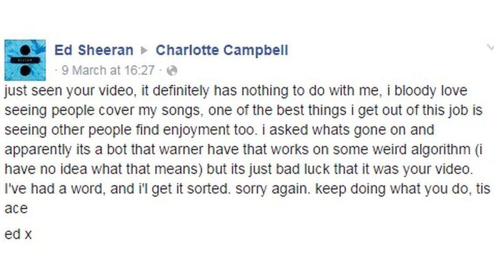 Ed Sheeran apology