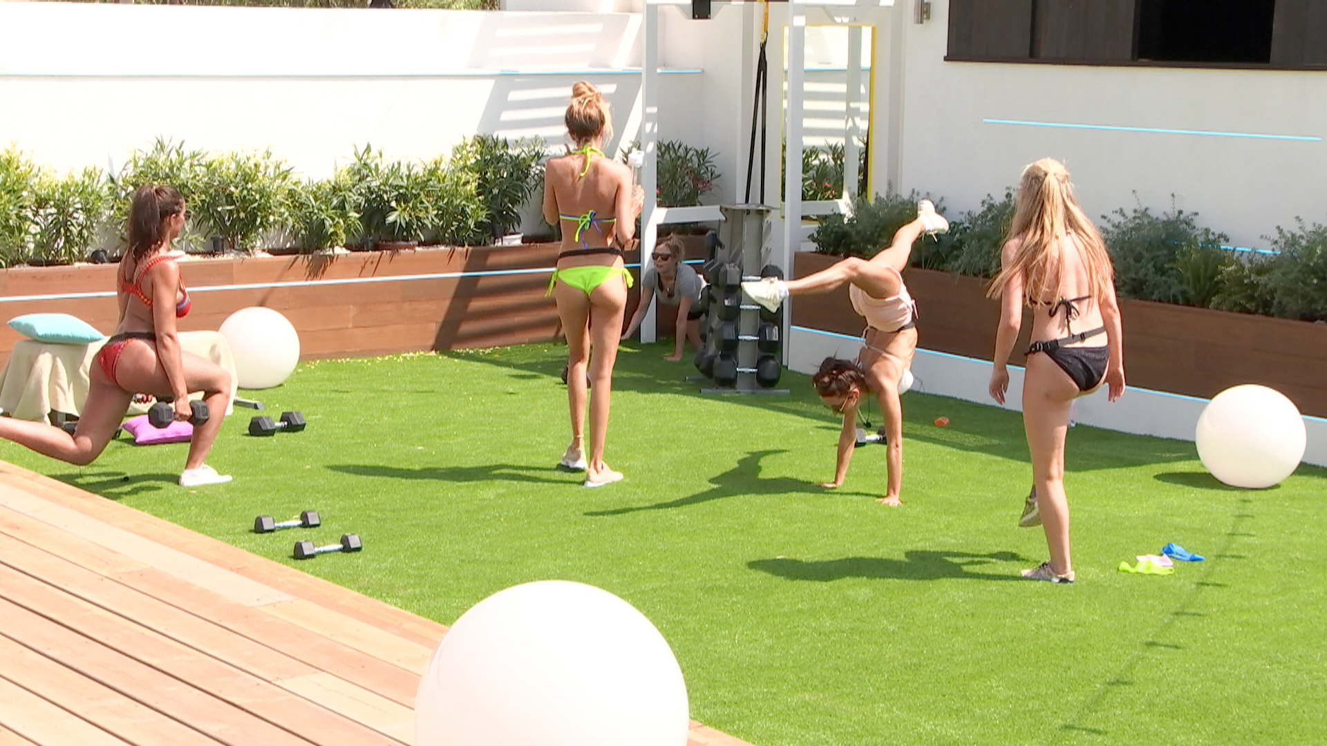 Camilla working out in the Love Island villa