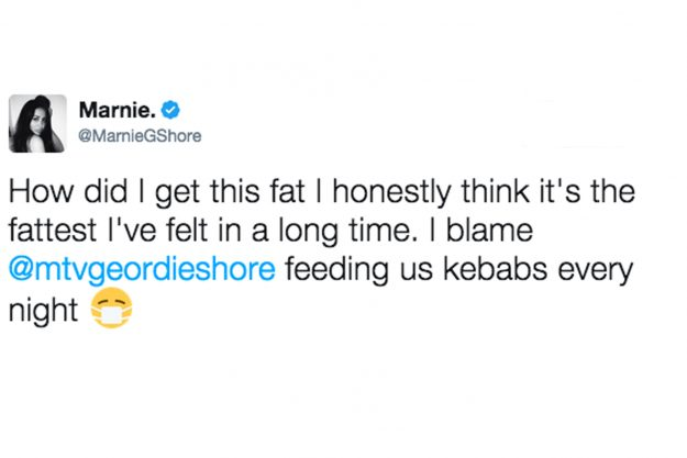 Deleted Marnie Simpson fat tweet