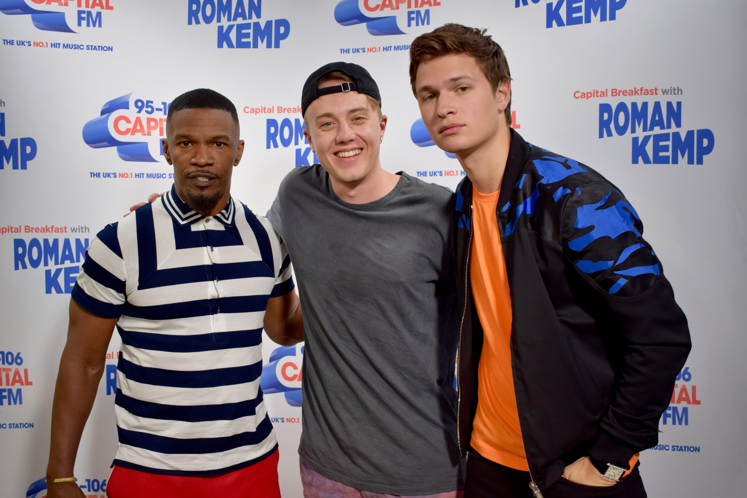 Jamie Foxx and Ansel Elgort with Roman Kemp