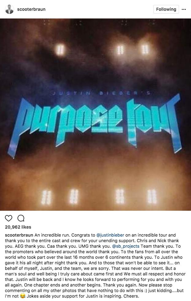Scooter Braun Purpose Tour Cancelled
