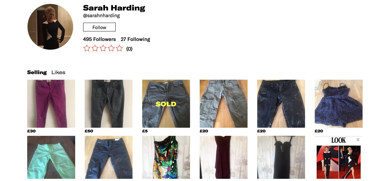 Sarah Harding's Depop