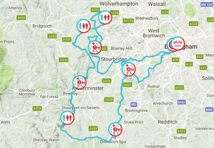 Route for Velo Birmingham