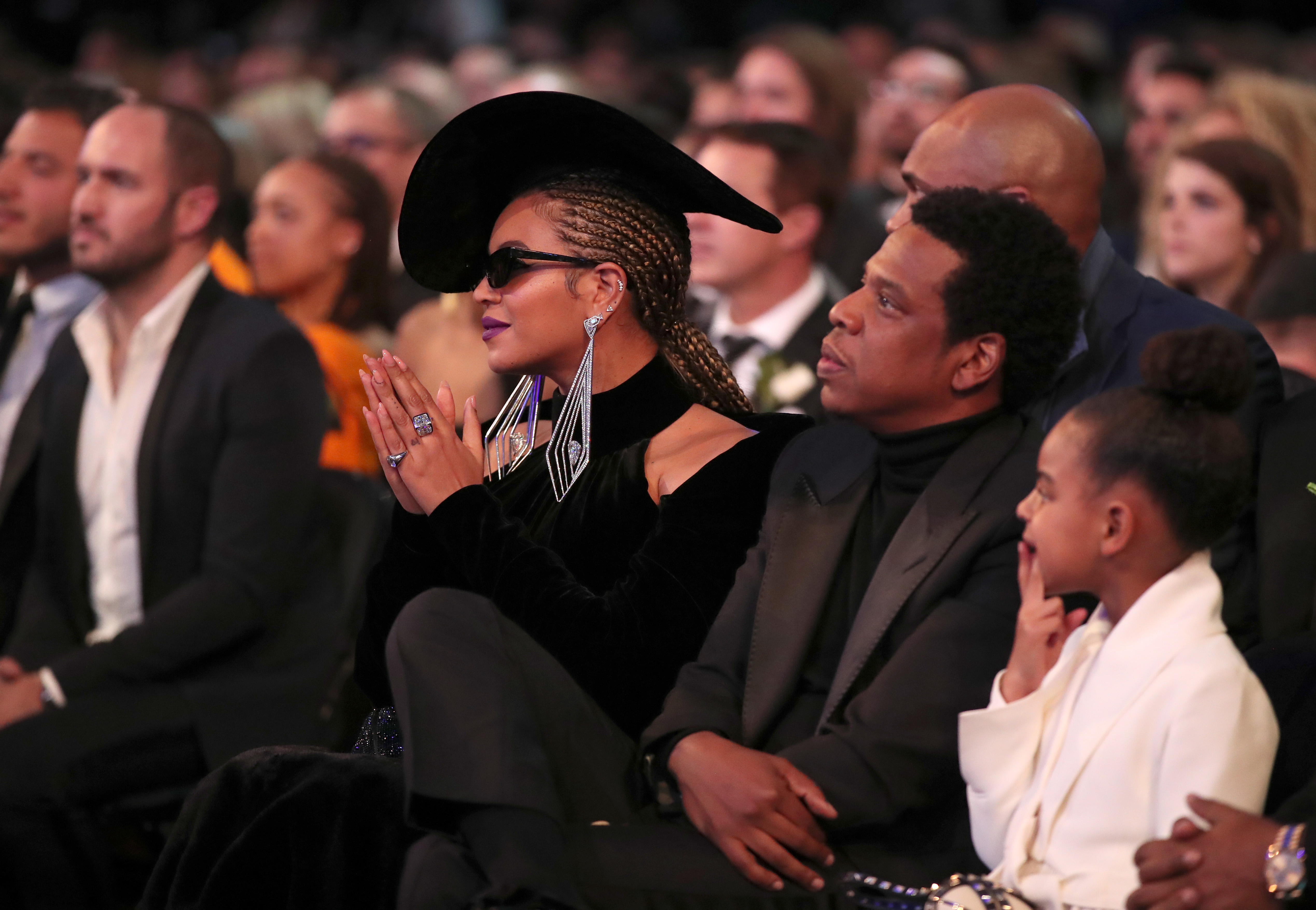 Jay-Z, Blue Ivy and Beyoncé 60th Annual GRAMMYs