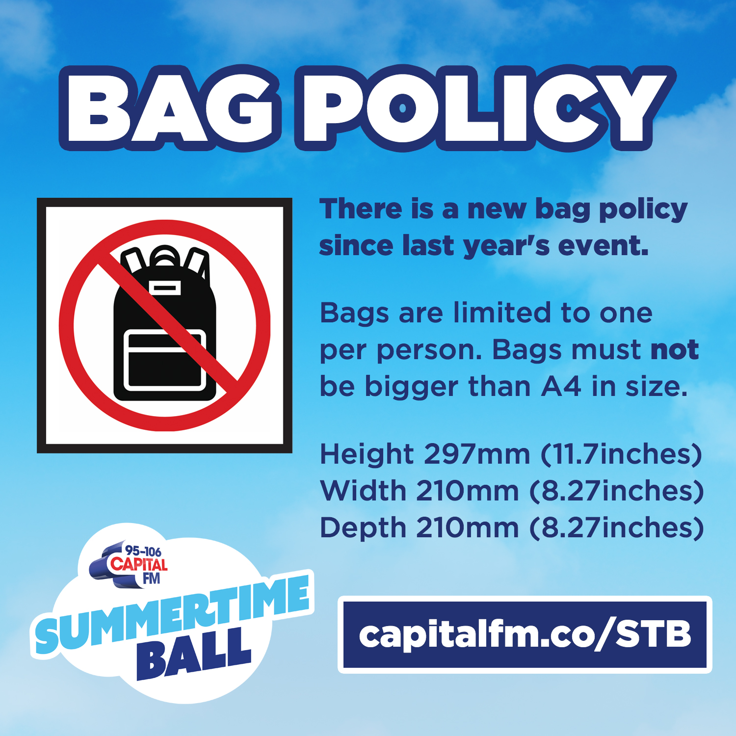 Capital's Summertime Ball 2019 Bag Policy