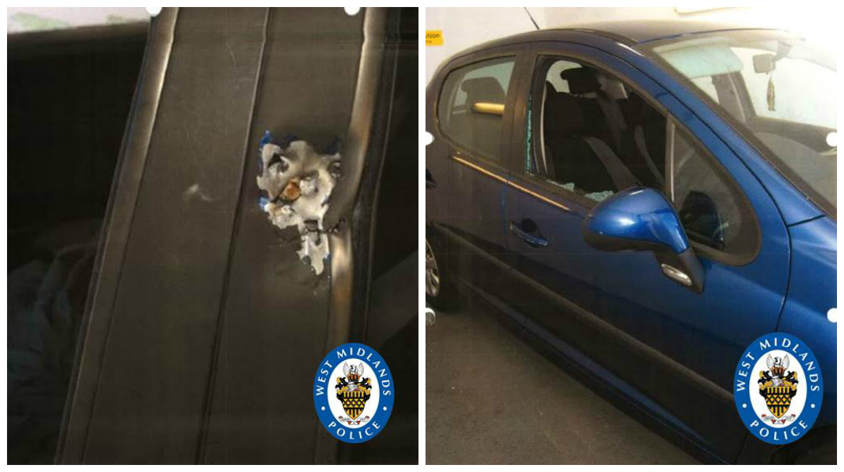Photos show damage to the dark blue Peugeot 207